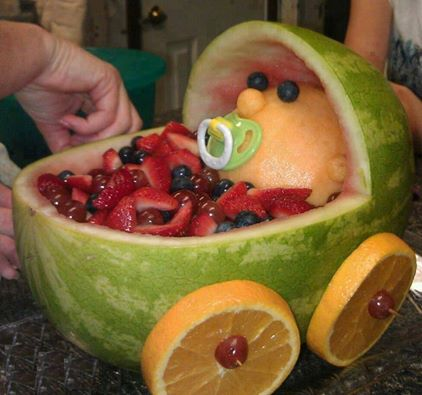 baby in watermelon for shower